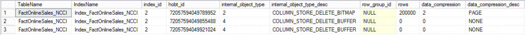FactOnlineSales_NCCI - internal partitions after 200K rows synched